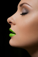 Make up of beautiful woman. Blue lips