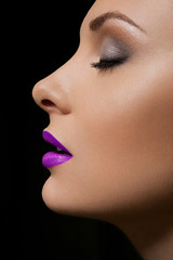 Make up of beautiful woman. Lilac lips