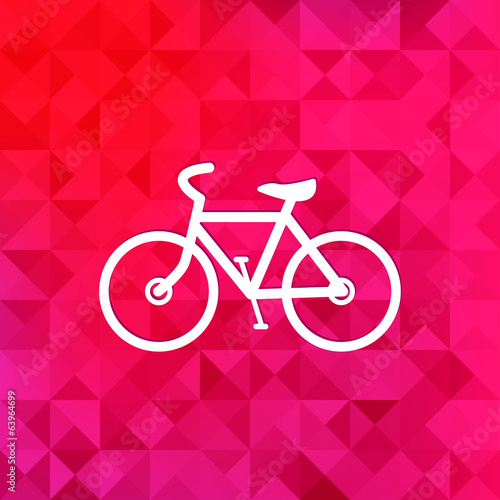 Hipster retro bicycle icon.Triangle background.