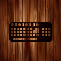 Computer keyboard web icon. Wooden texture.