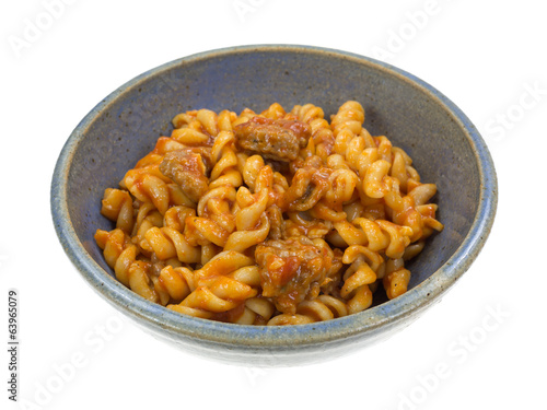 Italian Sausage With Pasta In Bowl Side View