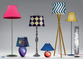 Set of decorative color lamps. Vector illustration