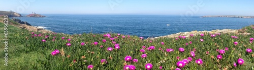 Panoramic view of coast near lighthouse in Ribadeo, Spain