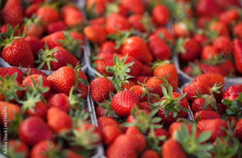 fresh strawberries on market