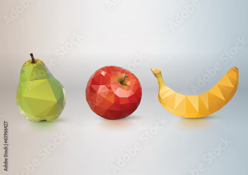 Fruit Set: pear, apple, banana. Low-poly triangular style