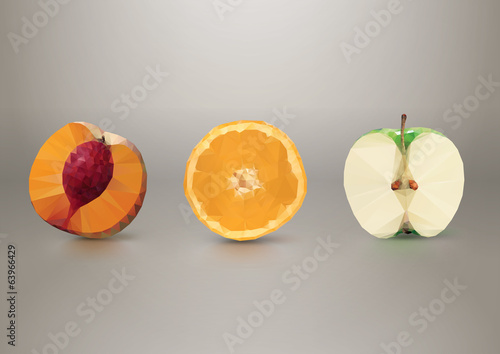 Fruit slices: peach, orange, apple. Low-poly triangular style