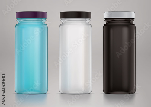 Empty glass jar with cap for new design