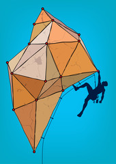 Rock climber. Template for design poster