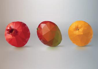 Fruit set: pomegranate, mango,orange. Low-poly triangular style