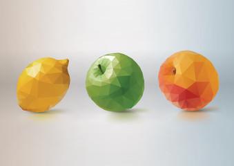 Fruit Set: lemon, apple, peach. Low-poly triangular style
