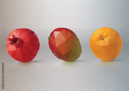Fruit set: pomegranate, mango,orange. Low-poly triangular style