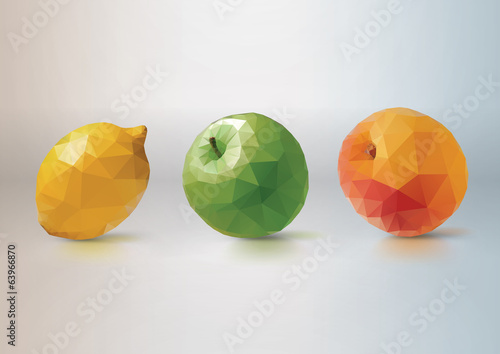 Fruit Set: lemon, apple, peach. Low-poly triangular style