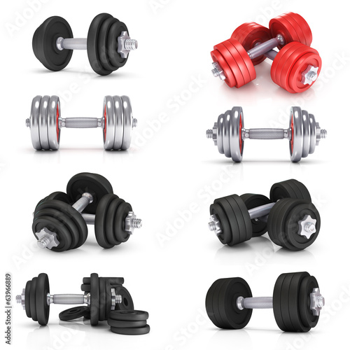 Big dumbells collection over white background