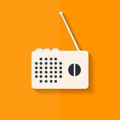 Radio web icon. Flat design.