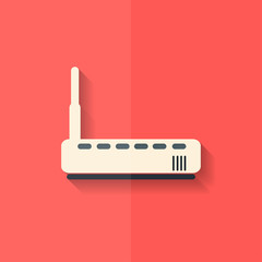 Wi fi router web icon. Flat design.
