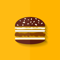 Hamburger icon. Cheeseburger symbol. Flat design.