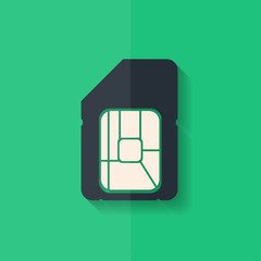 Sim card web icon. Flat design.