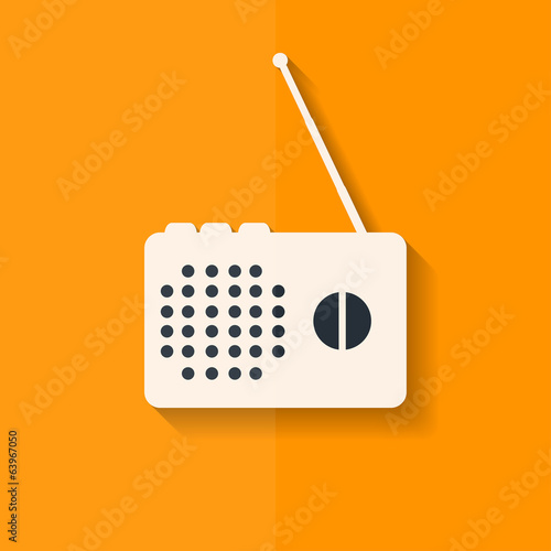 Radio web icon. Flat design.