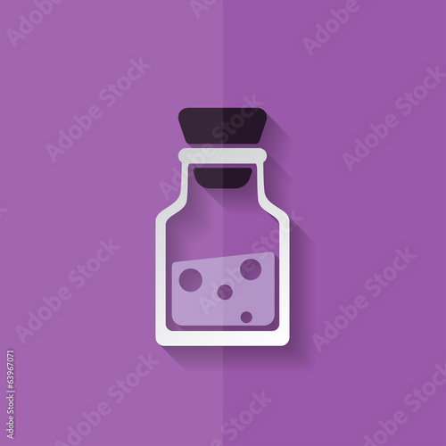 Laboratory medical flask. Flat design.