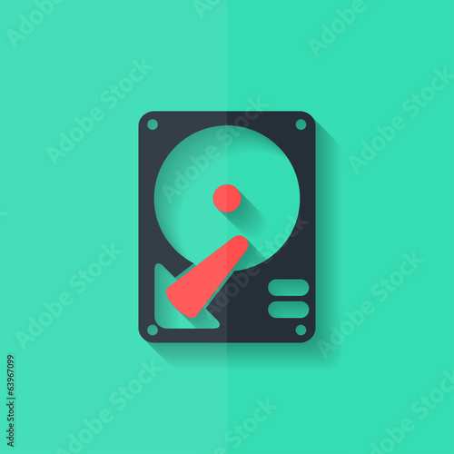 Hard disc icon. Flat design.