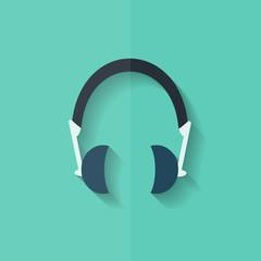 Headphones icon. Musical accessory. Flat design.
