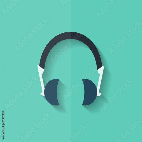 Headphones icon. Musical accessory. Flat design.