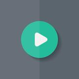 Media play icon. Start music symbol. Flat design. poster