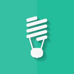 Energy saving light bulb. Flat design.
