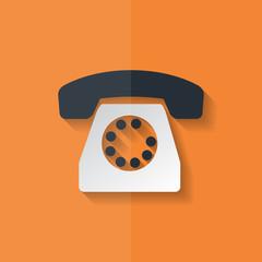 Retro telephone web icon. Flat design.