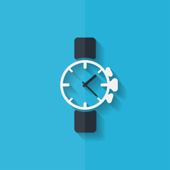 Watch,clock icon. Flat design.