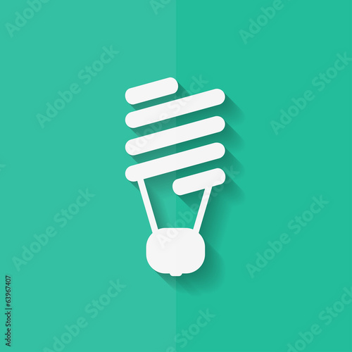 Energy saving light bulb. Flat design.