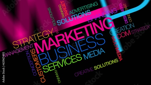 Marketing text colors words tag cloud animation