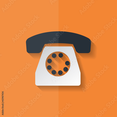 Retro telephone web icon. Flat design.