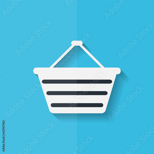 Shopping basket icon. Flat design.