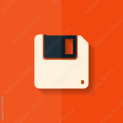 Floppy disk icon. Flat design.