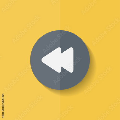 Reverse or rewind icon. Media player. Flat design.