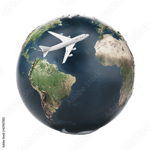 airplane travel  (Earth map provided by NASA)