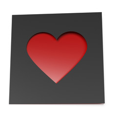 Black card with cut out heart