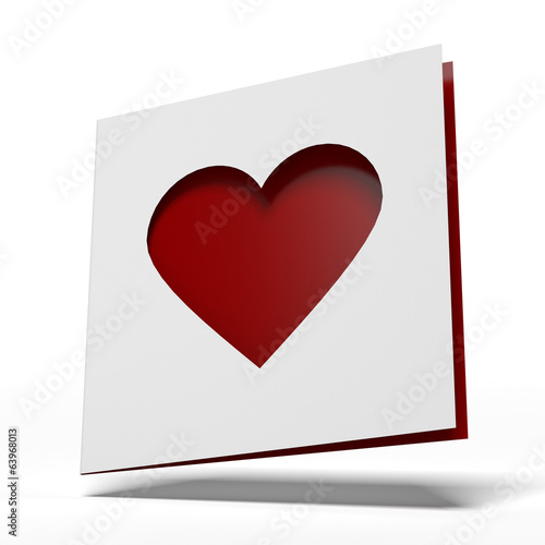 White card with cut out heart