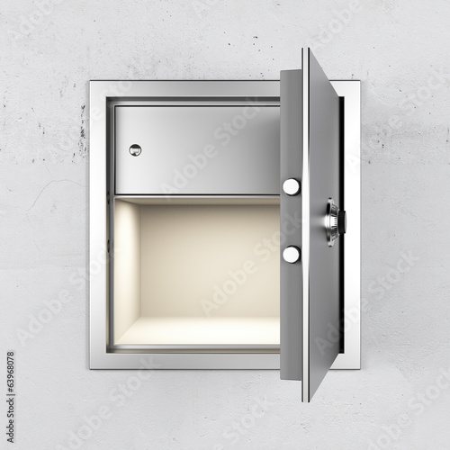 empty metal safe in wall