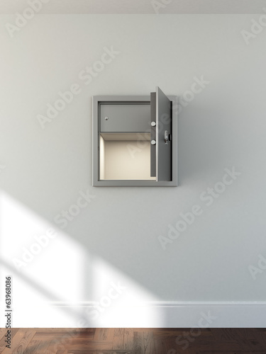 empty metal safe in bright room