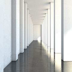 empty long corridor with large columns