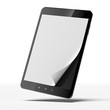 Black tablet pc with blank paper