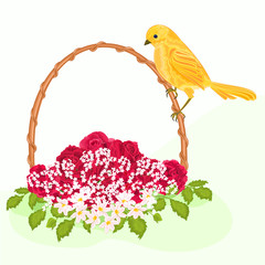 Golden bird and flowers