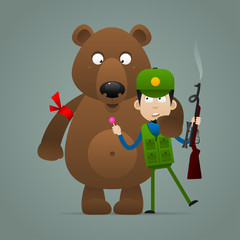 Concept bear holds frightened hunter