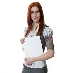 Young tattooed business woman holding white folder