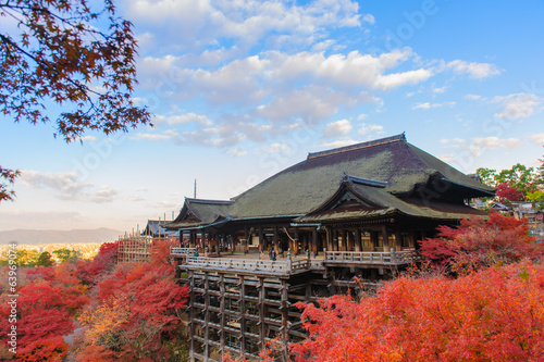 Kiyomizu-dera stage with fall colored leaves