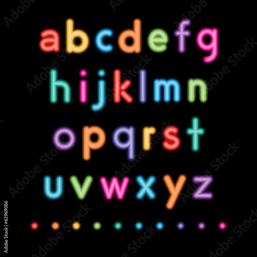 neon small alphabets
