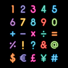 neon numbers and symbols