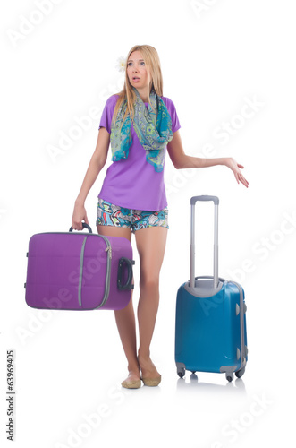 Confused woman preparting for vacation with suitcase isolated o